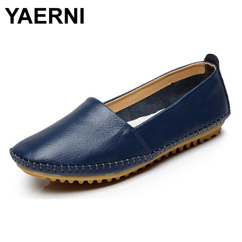 YAERNI Women Genuine Leather Shoes Women Flats Fashion Casual Women Shoes Slip On Women Loafer Flats Shoes Zapatos Muje#SJL32 cresfimix zapatos women cute flat shoes lady spring and summer pu leather flats female casual soft comfortable slip on shoes