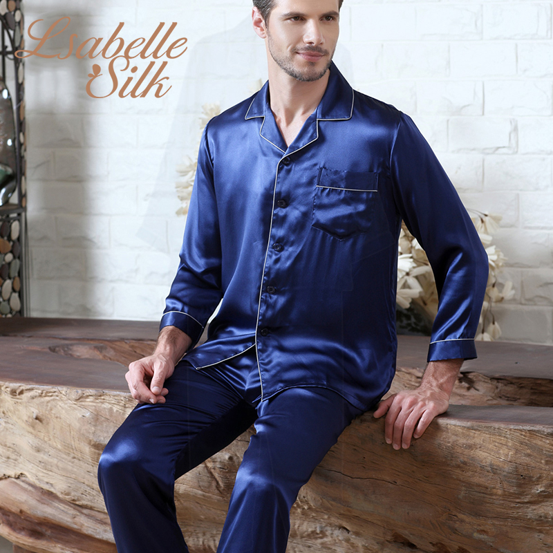 2019 New 100% Natural Silk Pajamas Men Sleepwear Men Pajama Set Pijama Men Pajamas Mens Pajamas Night Suit Nightwear(China)