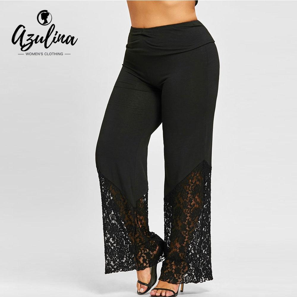 AZULINA Plus Size Women   Pants   High Waist   Wide     Leg     Pants   2018 Fashion Lace Trim Casual Ladies   Pants   Trousers Black Woman Clothes