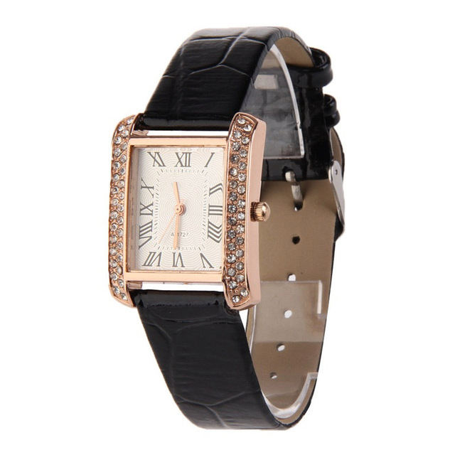 Women Watches Pu Leather Band Ladies Watch Square Face With Crystals