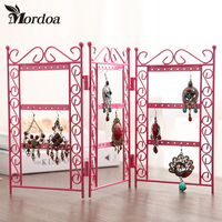 Mordoa Dangle Earrings Jewelry Pink Metal Display Stand Rack Jewelry Display Wrought Iron Frame Necklace Pendant