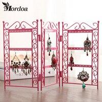 Mordoa Dangle Earrings Jewelry Pink Metal Display Stand Rack Jewelry Display Wrought Iron Frame Necklace Pendant