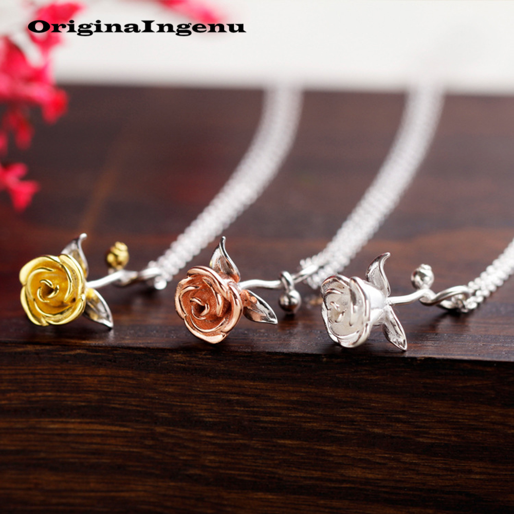 Jewerly 925 Sterling Silver Rose Necklace Pendants Creative Charms Simple Women Birthday Gift Choker Chain Collier Femme Kolye