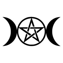 15cm*7.6cm Triple Moon Goddess Wicca Pentacle Cartoon Stickers Decals Black triple moon