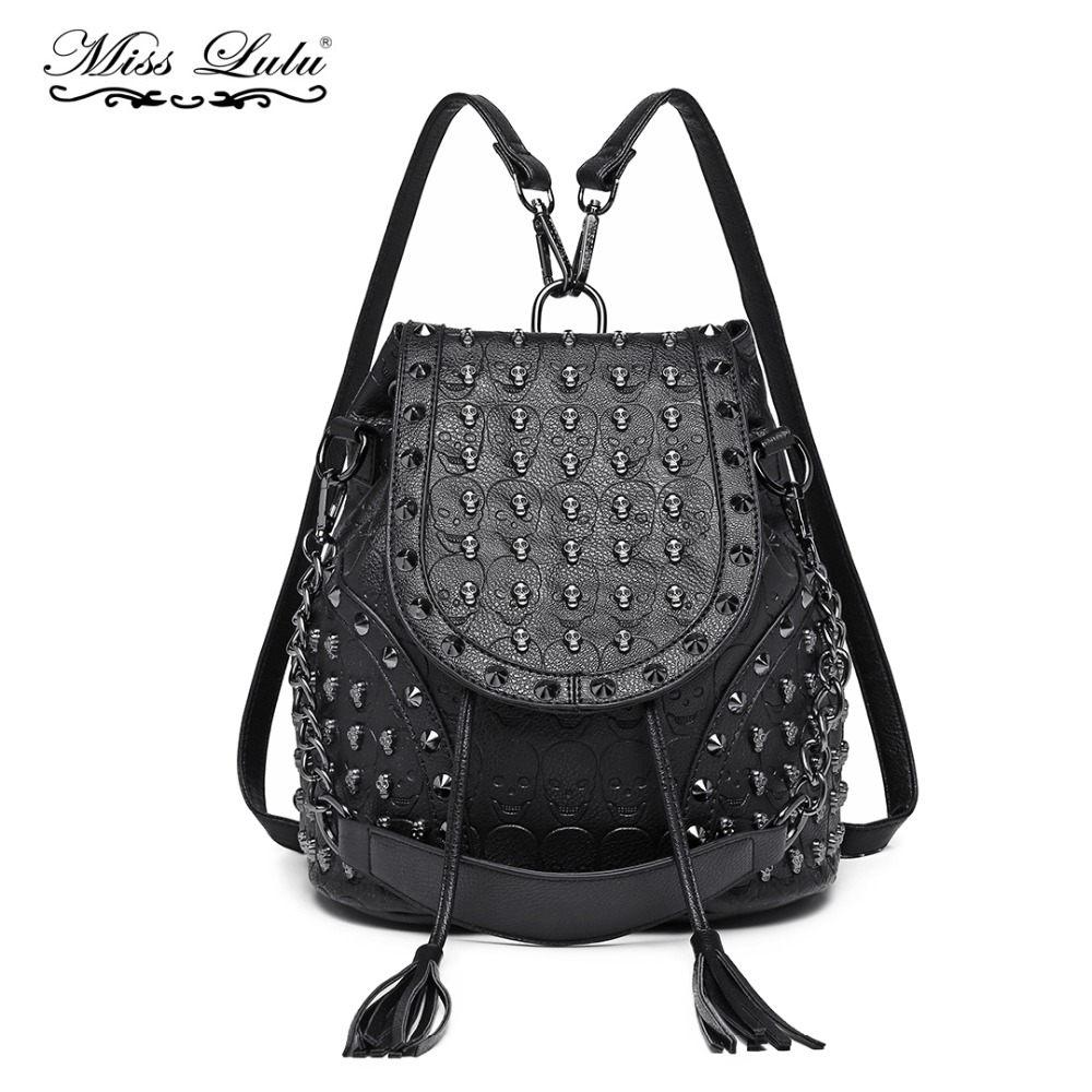 168e6c4d9c6a Detail Feedback Questions about Miss Lulu Women Designer Backpacks Girls  Drawstring School Bags Skull Embossed Stud PU Leather Shoulder Bag Tassel  Daypack ...