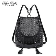 Miss Lulu Women Designer Backpacks Girls Drawstring School Bags Skull Embossed Stud PU Leather Shoulder Bag Tassel Daypack L1414