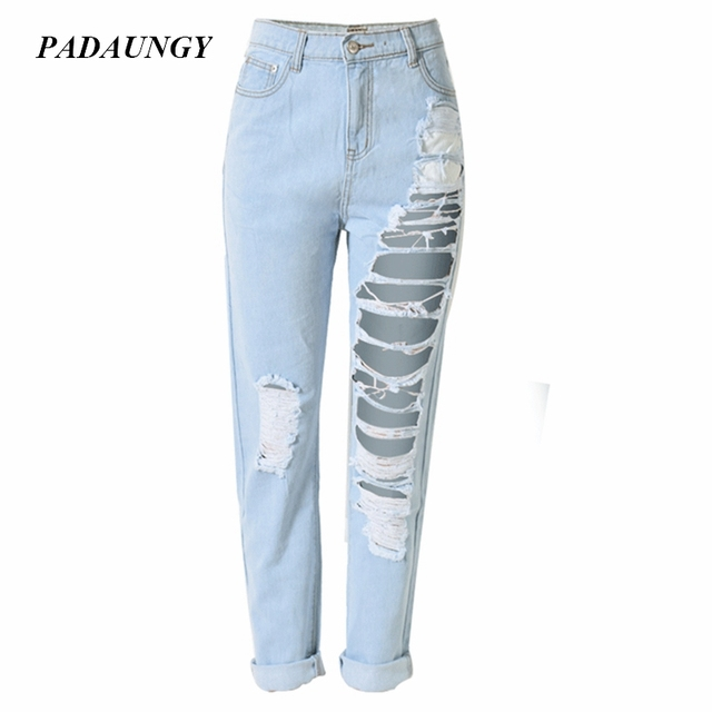 2b988b7d7f09e PADAUNGY Straight Ripped Jeans For Women High Waist Torn Jeggings Boyfriend  Pantalon Femme Holes Jardineira Feminina Vaqueros