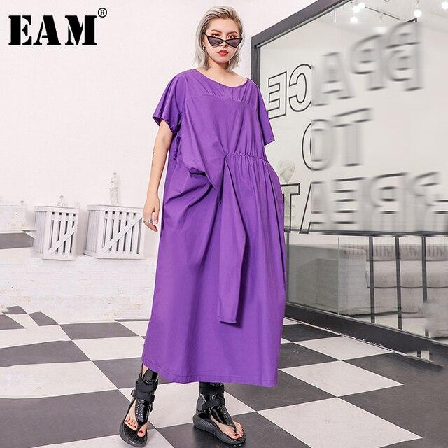 [EAM] 2019 New Spring Summer Round Neck Short Sleeve Purple Irregular Fold Pleated Big Size Dress Women Fashion Tide JU632