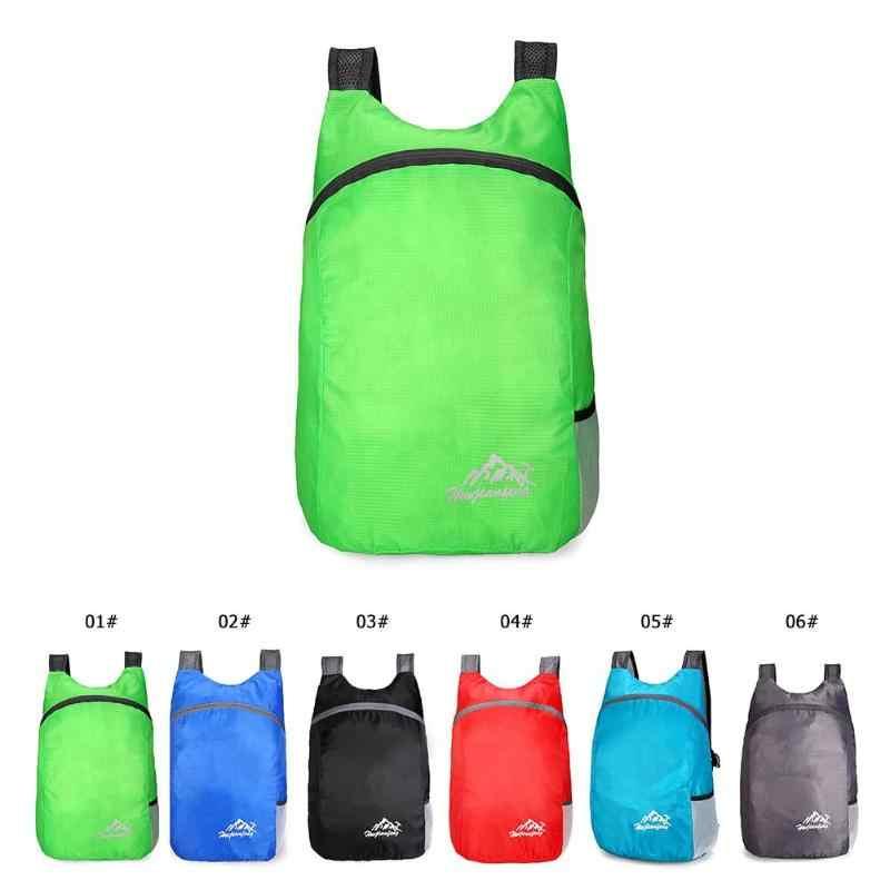 20L рюкзак легкий нейлоновый складной рюкзак Водонепроницаемый рюкзак складной мешок Сверхлегкий Открытый пакет для женщин мужчин Пешие прогулки
