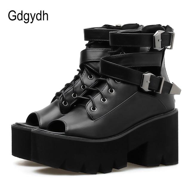 Gdgydh Burnu açık Yaz Çizmeler Ayakkabı Kadın platform ayakkabılar 2019 Yeni Moda Toka Siyah Deri Kadın Ayakkabı Yaz Tıknaz