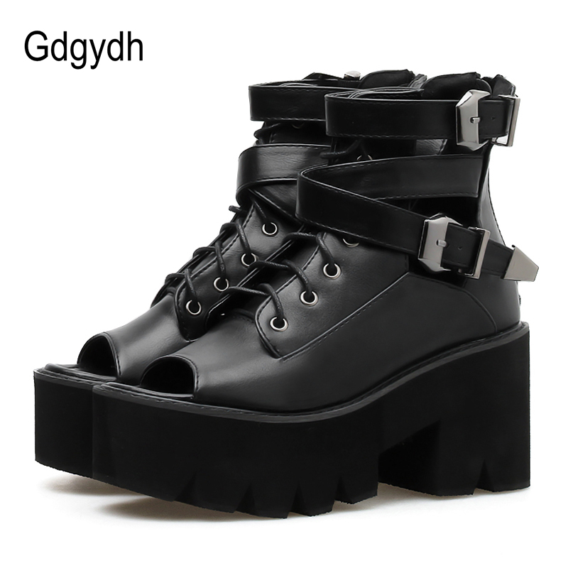 Gdgydh Open Toe Summer Boots Shoes Women Platform 2019 New Fashion Buckle Black Leather Female Footwear On Chunky
