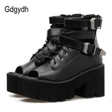 Купить с кэшбэком Gdgydh Open Toe Summer Boots Shoes Women Platform Shoes 2019 New Fashion Buckle Black Leather Female Footwear On Summer Chunky