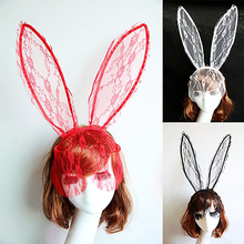 Women Fancy Dress Party Rabbit Bunny Long Ears Lace Mask Veil Headband Headwear
