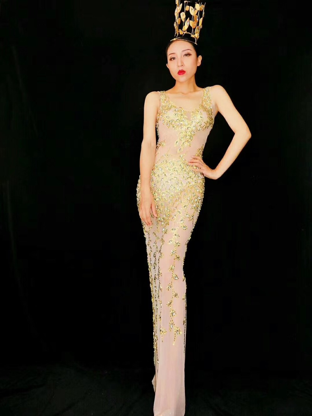 2019 femmes nouvelle mode brillant RhinestonesNet fil Transparent Cool Sexy longue robe femme chanteuse célébrer tenue de soirée robe - 3