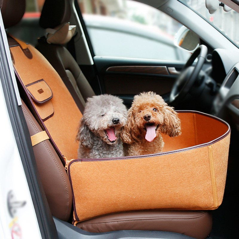 Pet Waterproof Puppy Basket Car Carrier Front Seat CoverAnti-Slip Dog Cat Car Booster Outdoor Travel Car Carrier Protector