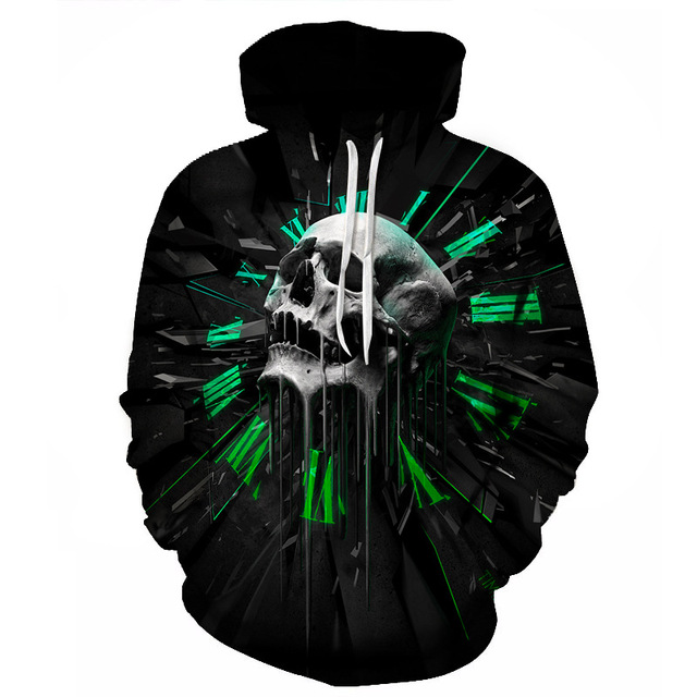 2017 Winter Hip Hop Skull Hoodie Sweatshirts Women Men Long Sleeve 3D Print Tracksuit Unisex Black Coat Clothing R3648