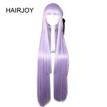 HAIRJOY sentetik Dangan Ronpa Kyouko Kirigiri mor Cosplay peruk ile örgü örgü at kuyruğu 100cm uzun düz saç