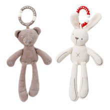 Infant Baby Rattle Cute Rabbit Stroller Wind Chimes Hanging Bell Musical Mobile Baby Toy Doll Soft Bear Bed Appease Rattles Toys(China)