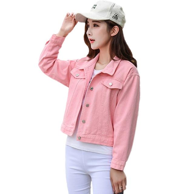 aee3727a5c1a Nouveau 2018 Printemps Automne Denim Manteau Cardigan Dames Noir Rose Blanc  Denim Veste Femme Casual Jeans