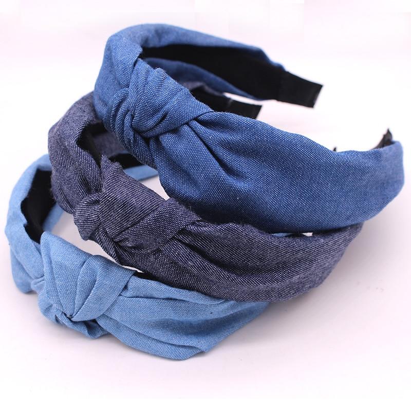 Bohemian Blue Denim Hairband Center Knotted Headband Customized Hair Accessories