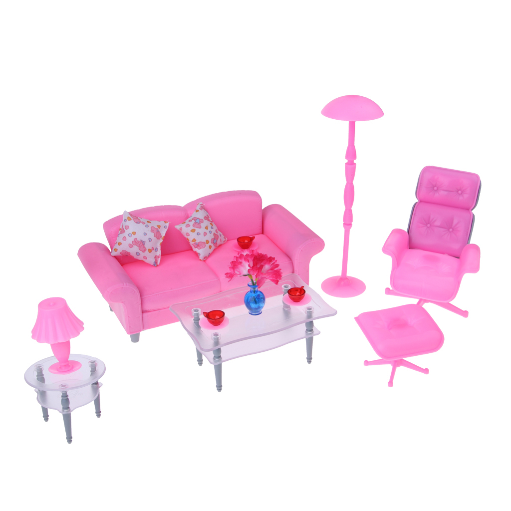 Sofa Set Action Us 14 3 41 Off 1 6 Pink Sofa End Table Recliner Set For Barbie Dollhouse Living Room Furniture Kit Action Figures Accessory Decoration In Furniture