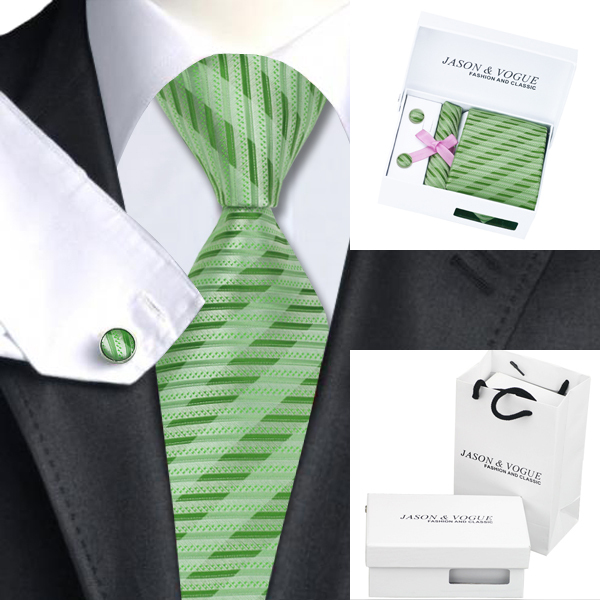 Hombres Corbata De Seda Verde Novedad Corbata Hanky Gemelos Caja de Regalo Bolsa de Conjuntos B-1062 Populares Lazos Para Los Hombres de Negocios de La Boda Del Partido