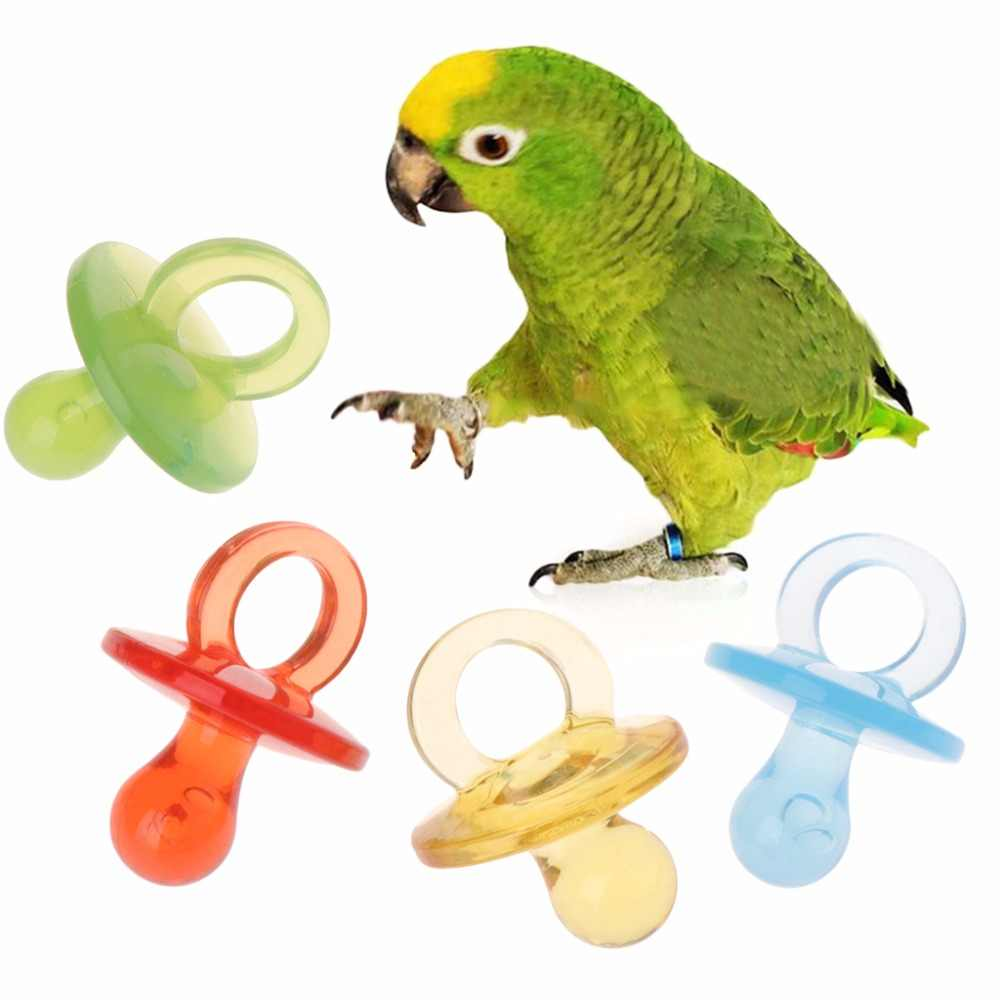 4pcs Bird Parrot Toys Acrylic Nipple Bite Chew Colorful Birds Supplies DIY Accessory Pacifier Toy Random Color C42