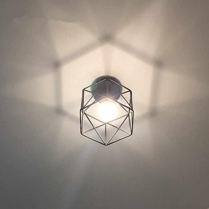 Винтажная Потолочная люстра железная черная клетка потолочная лампа для гостиной прихожие приспособления для промышленного освещения светильник для внутреннего освещения