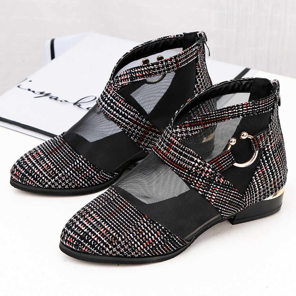 แฟชั่น Tulle Elegant Square Heel เดี่ยวรองเท้าผู้หญิงโรมันสบายๆลูกไม้สั้น chaussures femme ผู้หญิงรองเท้าเดี่ยว
