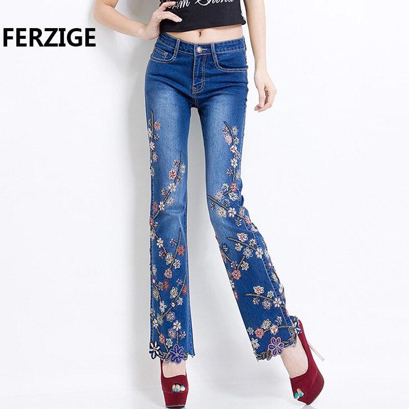 FERZIGE Jeans Women Brand 2018 Manual Beading Embroidered Flared Fashion Designer Stretch Hand Beads Female Pants Large Size 36