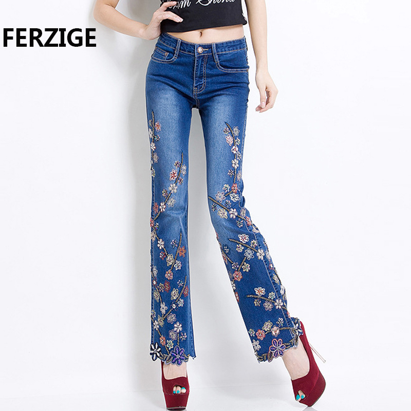 FERZIGE   Jeans   Women Brand 2018 Manual Beading Embroidered Flared Fashion Designer Stretch Hand Beads Female Pants Large Size 36