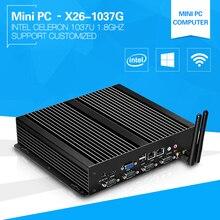XCY промышленных Мини-ПК Celeron 1037U Dual Core 2 LAN 4 RS232 безвентиляторный Поддержка Окна 7/8/10 Linux HDMI VGA WiFi