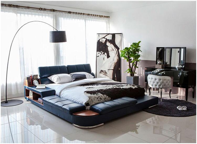 Home Bedroom Bed-Frame Furniture-Cama Soft-Beds Modern Genuine-Leather America Europe