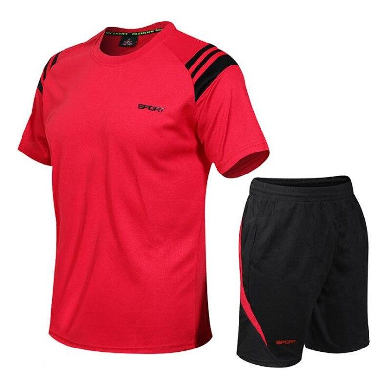 Sportsuits Set Men 2019 Brand Fitness Suits Summer Qucik Dry 2PC Top Short Set Mens Fashion 2 Pieces T-shirt Shorts Tracksuit