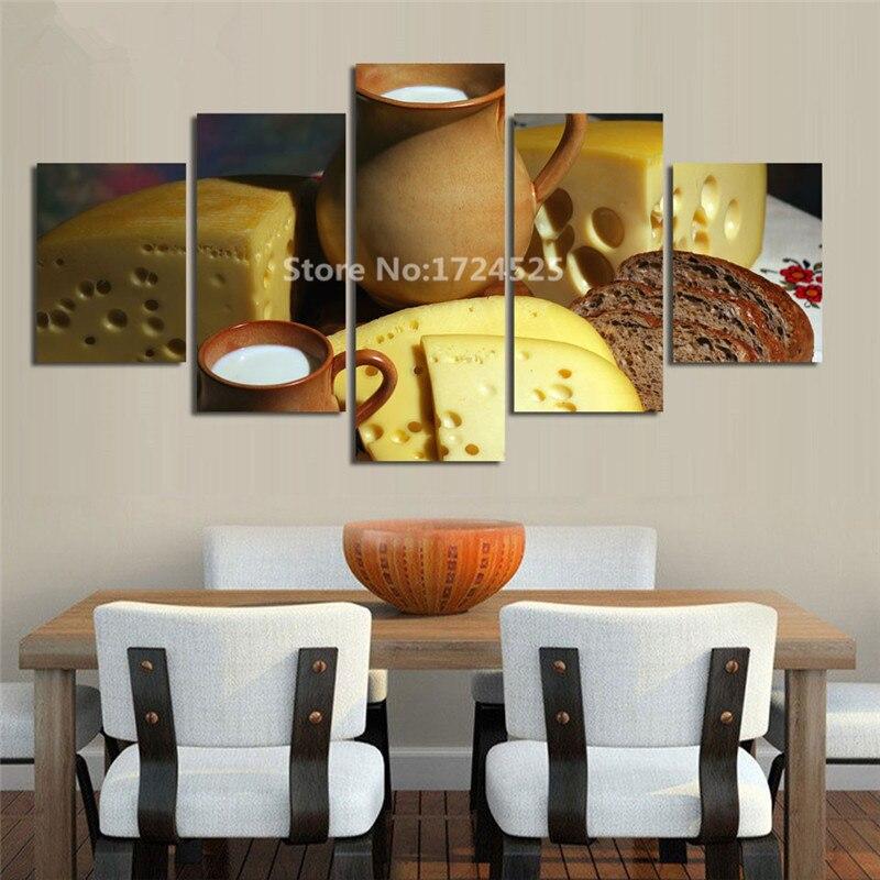 5 kusů chléb a jídlo a šálek moderního plátna tisk malba nástěnné umění domácí dekorace obrázek do obývacího pokoje bez rámečku