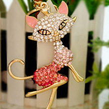 Fashion Accessories Rhinestone Sexy cat l  Key Chains free shipping