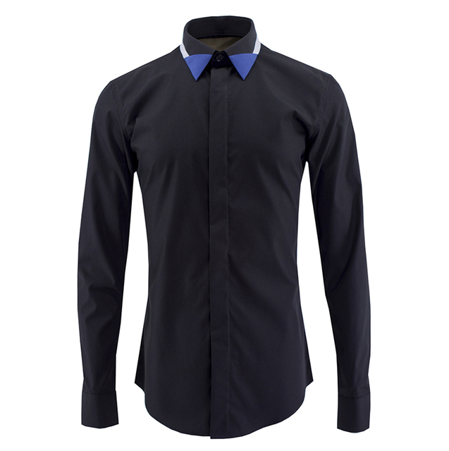 2017 Men Brand Shirt Fashion Color Hit Collar Mens Cotton Slim Fit Long Sleeve Shirts Solid Black White Dress Casual Shirts