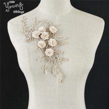 1 pçs flor dourada bordado laço decote diy colar guarnição roupas costura applique bordado borda para costura suprimentos artesanato