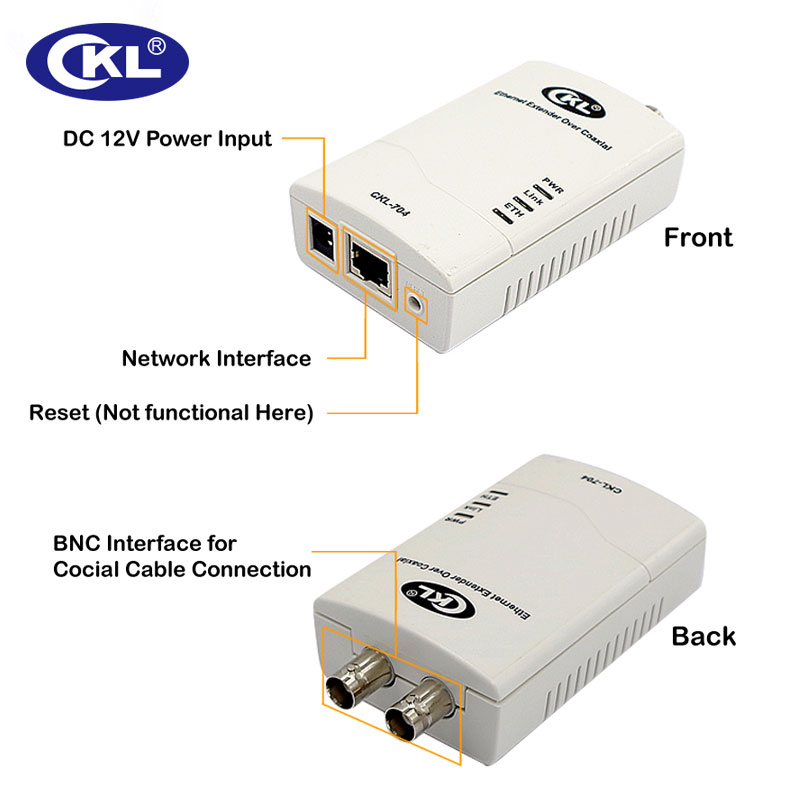 0-3KM High-quality Multifunction Rj45 Ethernet Extender IP Data & CCTV Transmission Over Coaxial Or Twisted-Pair Cable CKL-704