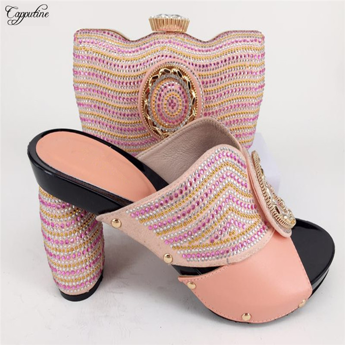 Прекрасный розовый свадебный набор серии высокий каблук сандалии обувь и сумки Комплект украшен stones226-7 много цветов
