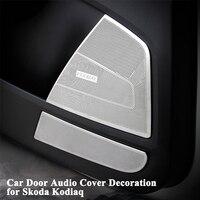 1set Styling Car Door Audio Decoration Cap Door Wrist Handle A Pillar Audio Covers Sticker Car Accessories for Skoda Kodiaq