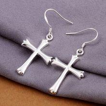 Estilo del verano fine silver plated pendientes 925-sterling-silver cruz de la joyería pendientes de gota para para SE305