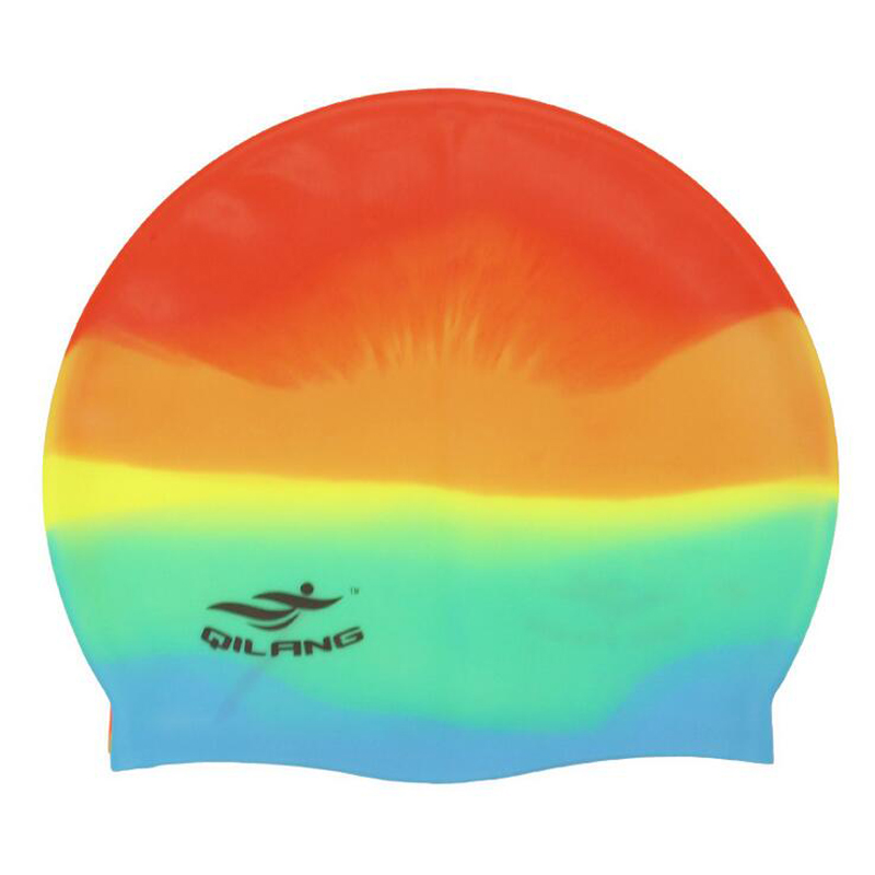 a88ea38a5a7cd Homens mulheres Senhoras Arco Íris Colorido Piscina de Natação Touca de  Natação Ouvido de Silicone À Prova D  Água Proteção Cabelos Longos Swimwear  Chapéus ...