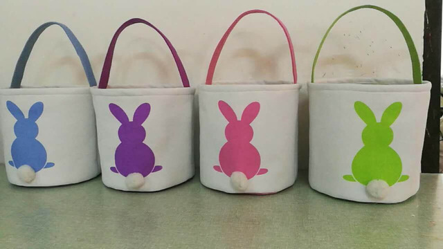 20pcs Canvas Easter Basket Bunny Ears Good Quality Bags For Kids Gift Bucket Cartoon