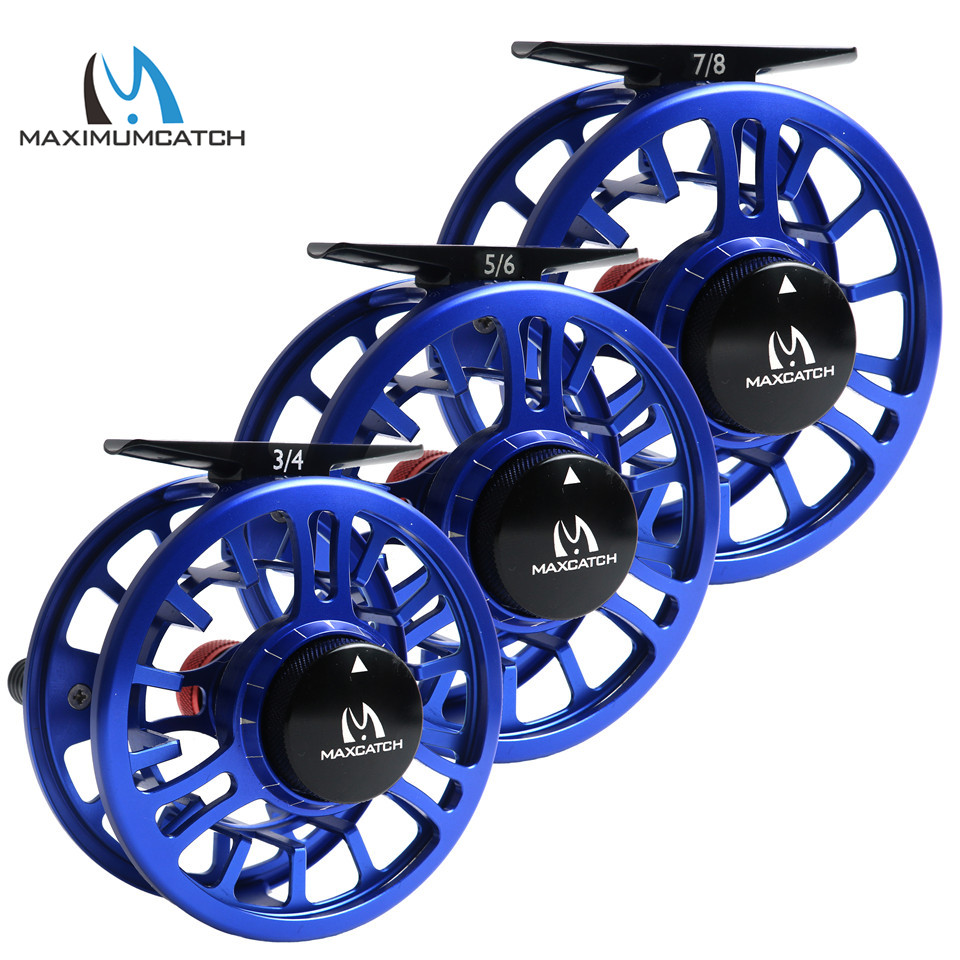 Maximumcatch High Grade TORO 3/4/5/6/7/8WT Fly Reel 6061-T6 Aluminum Blue Color Right Left-Handed Fly Fishing Reel maximumcatch hvc 7 8 weight exclusive super light fly reel chinese cnc fly fishing reel large arbor aluminum fly reel