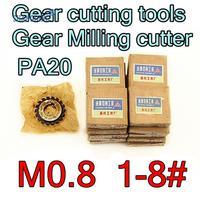 M0.8 modulus PA20 graden NO.1-NO.8 8 stks/set HSS Versnelling frees Gear snijgereedschap Gratis verzending