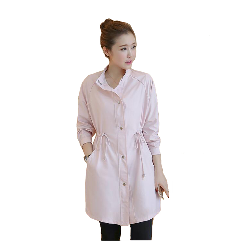 Spring new women trench coat loose large size higt waist pure color windbreaker casual womens Gabardina para mujer