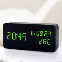 LED Intelligent Sound Control Awaken Clock Luminous Mute Calendar Batteries USB Charge Plastic Alarm Clock