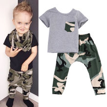 0-3Y Newborn Kids Baby Boy Summer Clothes T-shirt Tops + Pants Outfits Sets 2Pcs