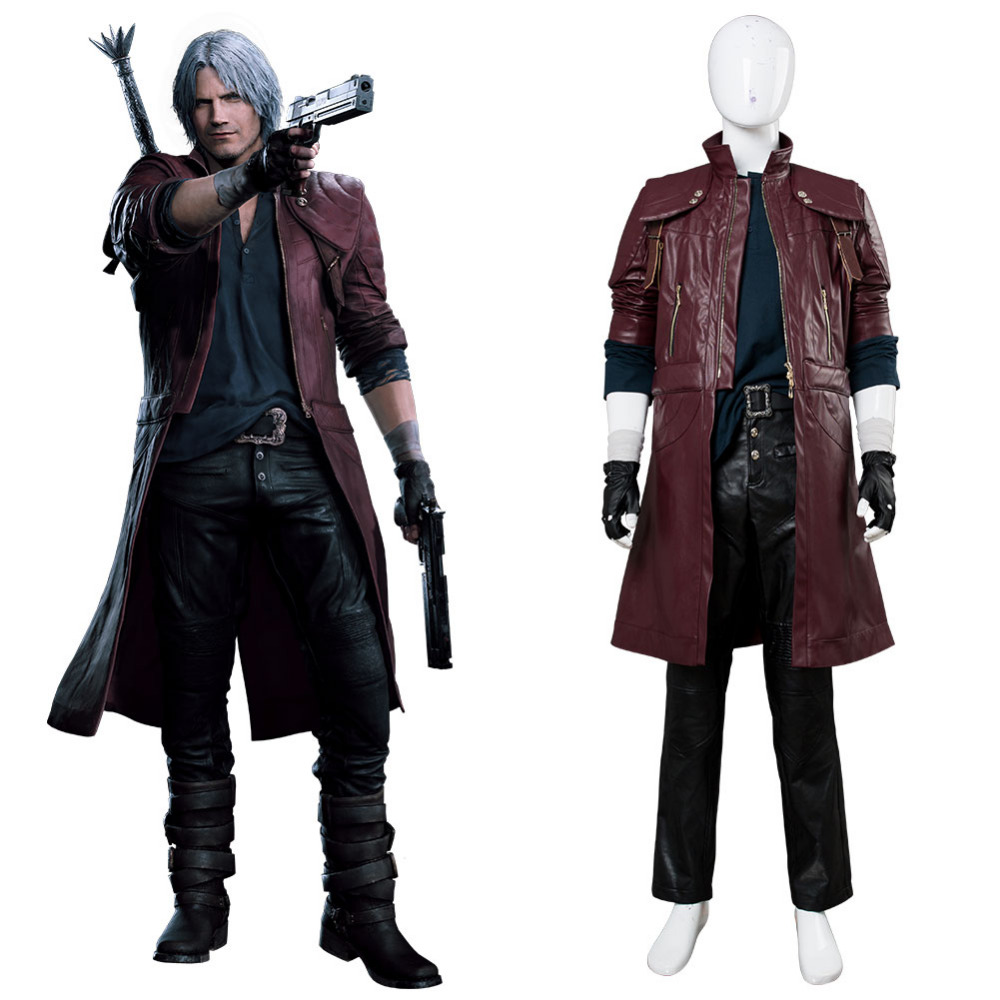DMC5 Devil May Cry Costume Devil May Cry Dante Aged Cosplay Costume Outfit Leather Coat Adult Halloween Carnival